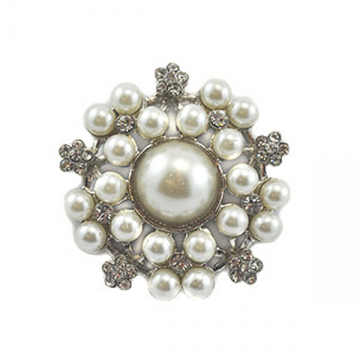 Diamonte and Pearl Brooch- Large