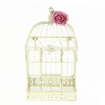 Cream bird Cage Wishing Well- Large