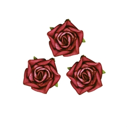 Small Rose Head Red Flowers 24pcs