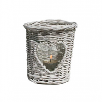 Wicker Candle Holder-White
