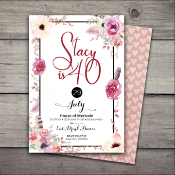 Boho Goddess Birthday Invitation