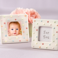 """Delightfully Dotted"" Ceramic Polka-Dot Photo Frame"