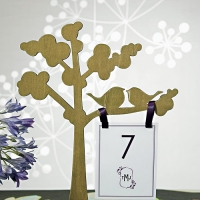Wooden Die-cut Trees with Love Birds